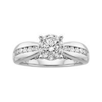 Destiny Diamond® engagement ring features 1 ct. tw. round brilliant diamonds set in a unique design made from 14K white gold. This engagement ring offers an appearance nearly three times larger than its actual carat weight.