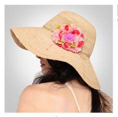 Flower khaki floppy sun hats for women summer UV wide brim straw hat