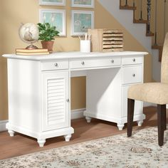 $395.99. When you're working with a small ensemble, a desk that doubles as a console table is a stylish and safe-saving essential. Take this one for example: Founded atop timeless turned feet, it is crafted of wood with a versatile solid finish that blends beautifully into any abode.