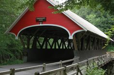 Covered bridge at Flume Gorge, Franconia Notch State Park,  White Mountains in northern New Hampshire