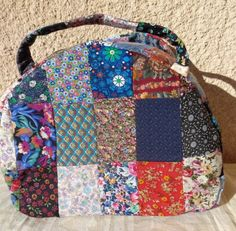 Patchwork handbag top handle multicolour handmade by Aliki01 on Etsy