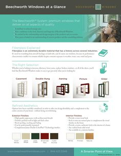 Beechworth Windows: At A Glance  Simple sell sheet: overview of products, colors and accessories for Beechworth Windows.