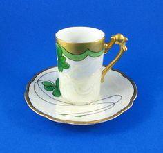 Unusual Handle 3 Leaf Clover Luster Limoges Tea Cup and Saucer Set