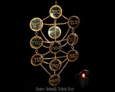 Oryginal and one of a kind ritual and altar pendant presenting TREE OF LIFE from Kabbalah Tradition (Sephiroth Tree).  Look at the video of it:
