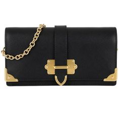 Prada Small Leather Goods - Cahier Wallet On Chain Black - in black -... (48,400 DOP) ❤ liked on Polyvore featuring bags, wallets, black, prada bags, card slot wallet, buckle wallets, decorating bags and genuine leather wallet
