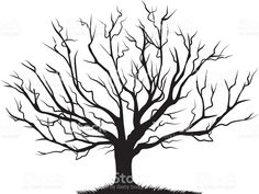 Deciduous Bare Tree Empty Branches Black Silhouette royalty-free stock vector art