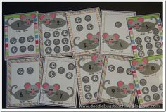 A little Mouse Coin Counting Fun - This is a center I made last year.. but it was WAY to easy for my first graders this year. They counted the dimes on the cards and recorded their answers on a recording sheet.