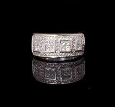 Ladies 14k White Gold, 1.42cttw Round & Princess Cut Diamond Encrusted Wedding Band, Fashion Ring $999