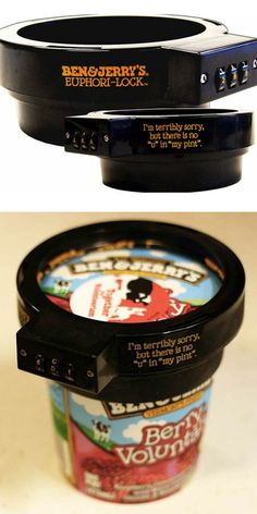 Haha combo lock for ice cream. Def need this for my H&D coffee ice cream lol Gadgets And Gizmos, Cool Gadgets, Ben Und Jerry, Georg Christoph Lichtenberg, Just In Case, Just For You, Combination Locks, Just For Laughs, The Funny
