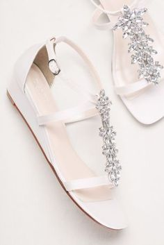 dfa16b965 Eye-catching crystals turn nearly flat satin sandals into an every-occasion  must-have. By David s Bridal Synthetic upper