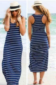Encontrar Más Vestidos Información acerca de Mujeres del verano sin mangas a rayas vestido largo 2015 moda tallas grandes ropa atractivo del vendaje vestido ocasional de la playa, alta calidad Vestidos de 2015 Fashion Dress en Aliexpress.com