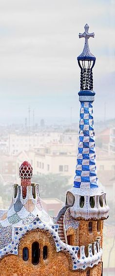 Clean ohoto of the beautiful #ParkGuell in #Barcelona, #Spain. This master piece was created by the architect #Antoni #Gaudi