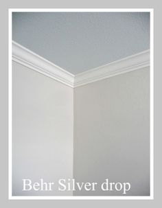 "Behr ""Silver Drop"" / Trim = ""Swiss Coffee""/ Ceiling consider 50% strength of SW ""Sea Salt"" in the lightest base tint....otherwise here is the 'special ceiling blue formula' as shown on this blog:  gallon of 'light tint base': B-1/2, A-1/4, E-2, L-2"