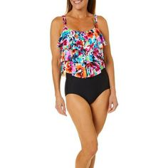 ad0d59aafa0 Paradise Bay Womens Floral Triple Tier One Piece Swimsuit