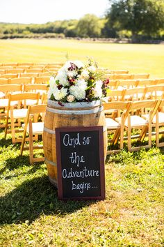 "Sunny Rhode Island Vineyard Wedding Easy DIY wedding chalkboard sign idea for wedding ceremony - ""And so the adventure begins. Wedding Ceremony Ideas, Wedding Tips, Diy Wedding, Wedding Photos, Wedding Planning, Fall Wedding, Reception Ideas, Trendy Wedding, Perfect Wedding"