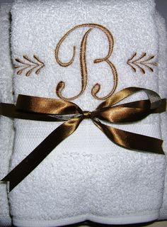 Monogram bath towel with a single initial for quick shipping! Monogram Towels, Personalized Towels, Monogram Gifts, Towel Embroidery, Embroidered Towels, Machine Embroidery Patterns, Linen Towels, Bath Towels, Bed Linen
