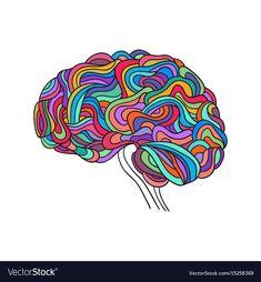Human brain vector image on VectorStock Brain Vector, Adobe Illustrator, Vector Free, Concept, Creative, Illustration, Pdf, Paintings, Tattoo