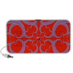 Red Heart Fractal Pattern Laptop Music Speakers $44.95