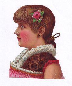 Victorian Woman Scrap Authentic 1800s Paper Ephemera Antique Scrapbook Die Cut picclick.com