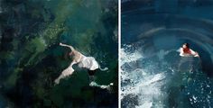 Here's a lovely series of swimming figures painted by Colombian illustrator and painter Pedro Covo. Covo splendidly captures the obscuring nature of water as splashes are rendered in frenetic splatters of paint, and the sinuous lines of bodies seem to evaporate into brush strokes. The artis