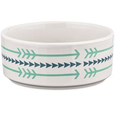Harmony Ceramic Arrow Dog Bowl - The Harmony Arrow Dog Bowl is a ceramic dog food bowl with a trendy, rustic arrow motif. Blue and mint compliment the white ceramic to provide a fresh feel to mealtime. - http://www.petco.com/shop/en/petcostore/harmony-ceramic-arrow-print-dog-bowl