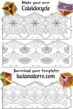 Crafts For Kids To Make, Diy For Girls, Diy Paper, Paper Crafts, Diy Crafts, Flextangle Template, Math Art, Mandala Coloring Pages, Art Lessons Elementary