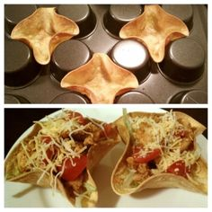 Make no-fry mini tortilla cups with the Pampered Chef Mini-Muffin Pan-don't forget the tart shaper-Mini Tacos Think Food, I Love Food, Good Food, Yummy Food, Yummy Taco, Awesome Food, Tasty Snacks, Tortilla Bowls, Taco Bowls