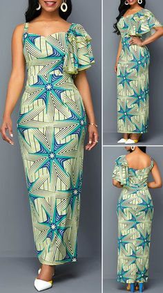 Geometric Print One Sleeve Maxi Dress – Christmas Fashion Trends African Fashion Ankara, Latest African Fashion Dresses, African Print Fashion, Long African Dresses, African Print Dresses, Pretty Dresses, Sexy Dresses, Beautiful Dresses, Outfits Dress