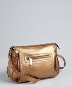 Kooba women's metallic bronze pebbled leather 'Brett' crossbody bag