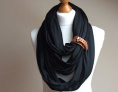 Infinity Fashion Circle Scarf Shawl Loop with leather clasp bracelet jersey BLACK oversized scarf. $36.90, via Etsy.
