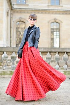 Give a long skirt some edge with a leather jacket.