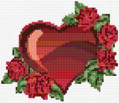 Cross Stitch Embroidery free cross stitch valentine with roses Wedding Cross Stitch, Cross Stitch Heart, Cross Stitch Flowers, Counted Cross Stitch Patterns, Cross Stitch Designs, Cross Stitch Embroidery, Beading Patterns, Embroidery Patterns, Bracelet Patterns