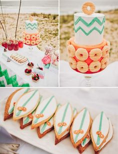 Bunte Torte mit Doughnuts und Früchte Törtchen