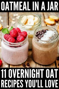 Give your day a kick start with one of these oatmeal in a jar overnight oats recipes! There are heaps of different recipes to choose from to suit you and your taste buds, and we're teaching you how to (Almond Butter Overnight Oats) Best Overnight Oats Recipe, Overnight Oats In A Jar, Oatmeal In A Jar, Overnight Oats Almond Milk, Mason Jar Oatmeal, Overnight Steel Cut Oats, Low Calorie Overnight Oats, Steel Cut Oatmeal, Overnight Oatmeal