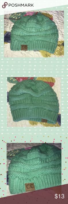Cute winter knit hat in mint green Perfect for the coming cold, this cute knit hat adds the perfect punch of fun color to an winter ensemble Accessories Hats