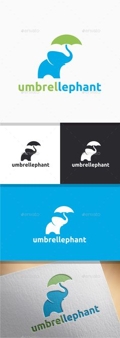 General 13 Umbrella Elephant logo (Vector EPS, AI Illustrator, Resizable, CS, animal, big, creative, cute, design, elephant, fat, graphic, heavy, logo, mammoth, mascot, media, modern, professional, rain, strength, strong, studio, template, umbrella, vector, water, wild, zoo)