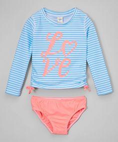 Another great find on #zulily! Coral & Blue Stripe 'Love' Rashguard Set - Infant, Toddler & Girls by OshKosh B'gosh #zulilyfinds