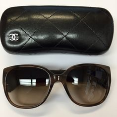 Brown Chanel Tweed Sunglasses Brown Chanel Sunglasses. Tweed arms. Worn once. Basically brand new. Comes with box, case, fabric case and cleaning cloth. Style # 5237. NO TRADING. CHANEL Accessories Sunglasses