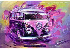 VW T1 Transporter 1950 Fine art print by Rafael by SpeedAndColors, $35.00