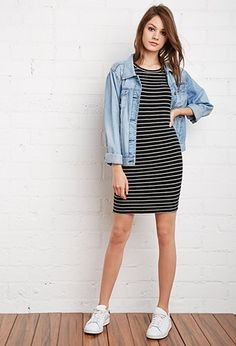 Stripe Ribbed Knit Dress | Forever 21 - 2000173643