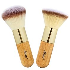 Matto Bamboo Makeup Brush Set Face Kabuki 2 Pieces  Foundation and Powder Makeup Brushes for Mineral BB Cream -- Find out more about the great product at the image link.
