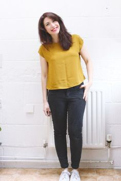 Marilla Walker maya top. Two simple versions of the maya top sewing pattern. One knit and one with a self-binded neckline | Randomly Happy
