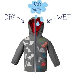 Boys Dinosaur Colour Changing Rain Coat - watch this jacket magically pop with colour when it rains. What child can resist a mystical magical colour changing rain coat? Raincoat Outfit, Yellow Raincoat, Hooded Raincoat, Stylish Raincoats, Raincoats For Women, Waterproof Rain Jacket, Kids Coats, Rain Wear, Festival Outfits