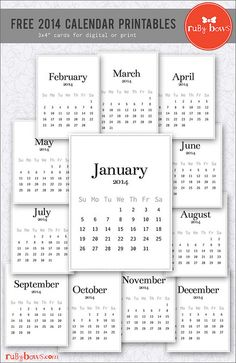 2014 freebie calendar printables for project life