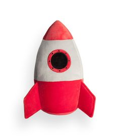 Rocket-shaped toy in soft velour with polyester fill. Height approx. 13 1/2 in.