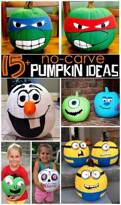 Clever No Carve/Painted Pumpkin Ideas for Kids on Halloween - Crafty Morning