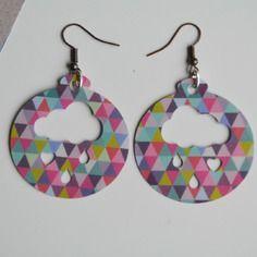 Boucles d oreille en papier plastifié ronde multicolores