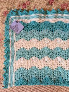 6 day kid blanket pattern on ravelry, my own border - by Ruth Hall Crochet Ripple Blanket, Baby Boy Crochet Blanket, Afghan Crochet Patterns, Kids Blankets, Manta Crochet, Crochet Gloves, Crochet For Boys, Kids Patterns, Lana