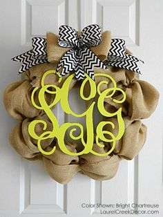 Monogrammed burlap wreath with chevron bow