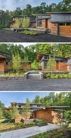 This modern house, which is discreetly set back from the road, is split into two sections, the main house on the left, and the guest house and garage on the right. When approaching the house, you're greeted by modern landscaping and can see through to the woods behind the house.